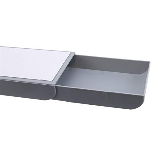 Beiswin Selbstklebend unter Schreibtisch Schublade Make-up Organizer Bleistiftablage Stifthalter Desktop Aufbewahrungsbox Schule Briefpapier Zubehör,Weiß