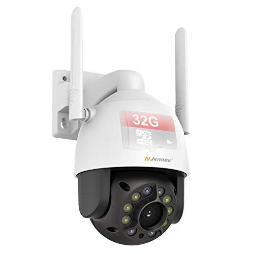 【Eingebaut In 32G SD Karte】 Jennov Überwachungskamera Aussen WLAN, 1080P PTZ WiFi IP Dome Kamera Outdoor, Kabellose IP WLAN Kamera mit Vollfarb-Nachtsicht, 355° schwenkbar 90° neigbar, 2-Wege-Audio