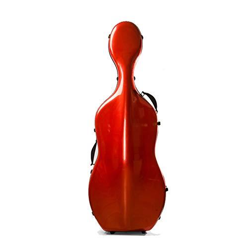 LVSSY-Custodia per Violoncello 4/4,Super Leggero,con La Cinghia,Rosso Monarca Fibra di Carbonio 4/4 Dimensioni