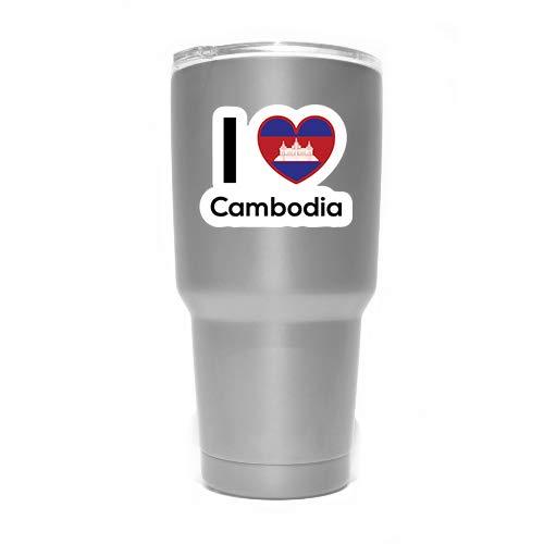 """More Shiz MKS0184 Aufkleber, Motiv """"Love Kambodscha"""", für Reisen, Auto, LKW, Van, Stoßstange, Fenster, Laptop, Tasse, Wand, 2 Stück"""