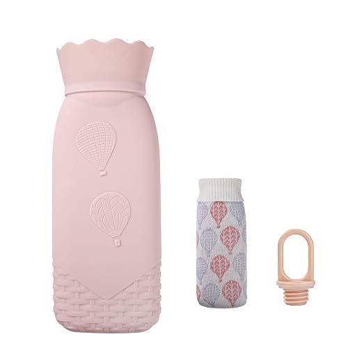 DQDF botella de agua caliente para microondas con tapa segura a prueba de fugas y cubierta de punto extraíble, proporciona calidez y comodidad.