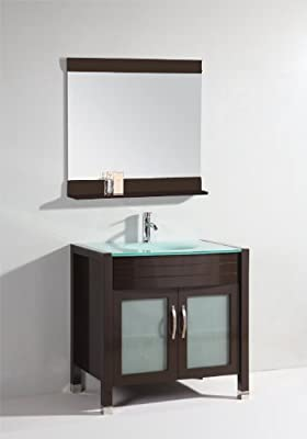lavie 36 inch single sink bathroom vanity with mirror with shelf