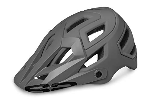 R&R Downhillhelm Trail | Trailhelm | Endurohelm | Fahrradhelm | MTB-Helm | Mountainbikehelm für Damen und Herren (schwarz grau, L (58-61))