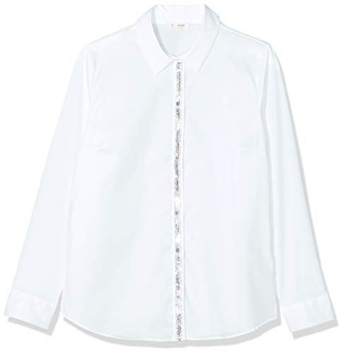 rich&royal Damen Baumwollbluse mit Glitzer Tape Hemd, Weiß (White 100), (Herstellergröße: 40)