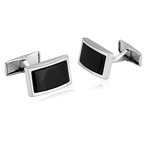 Ubestlove Gifts for Him Xmas Rectangle Shirt Cufflinks Stainless Steel Dad Gifts Christmas Silver