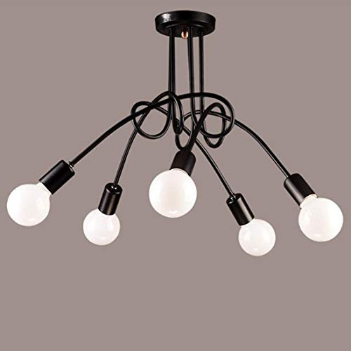 Ligero Cinco de Cabeza luz de Techo Creativo Sencillo Cafe Comedor Habitación Sala Forjado Lámpara Colgante de Hierro luz de Techo con LED Blanco lechoso Burbuja de Dragon Ball