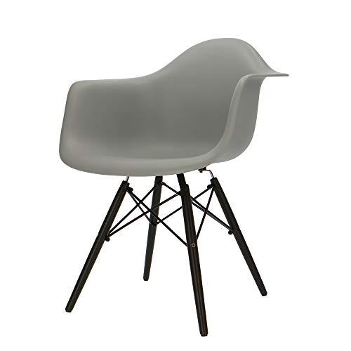 Popfurniture POP Designer DAW-Stuhl mit Armlehne und dunkle Beine - Esszimmerstuhl, Wohnzimmerstuhl, Bürostuhl aus Kunststoff und Ahornholz | 63 x 60 x 82 cm | Grau