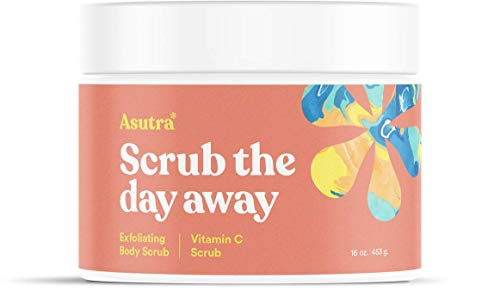 ASUTRA Dead Sea Salt Body Scrub Exfoliator (Vitamin C), NEW BIGGER 16 oz size | Ultra Hydrating, Gentle, & Moisturizing | Coconut, Sweet Orange, Grapefruit, and Lemon Oils