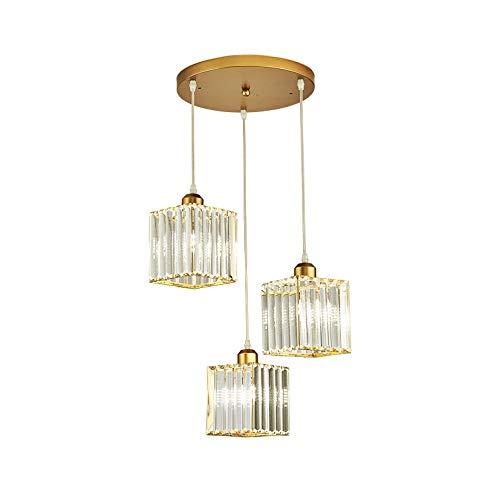 DYXYH Vintage LED Crystal Pendant Lights for Kitchen Island Bar Coffee Dining Table Bedroom Nordic Loft Cord Crystal Living Room Light