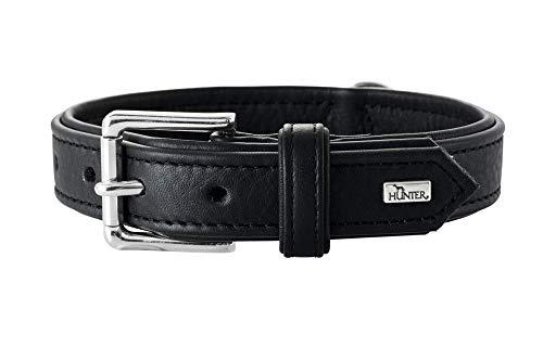 HUNTER MANITOBA Hundehalsband, Leder, Nappa, weich, geschmeidig, 45 (S), schwarz