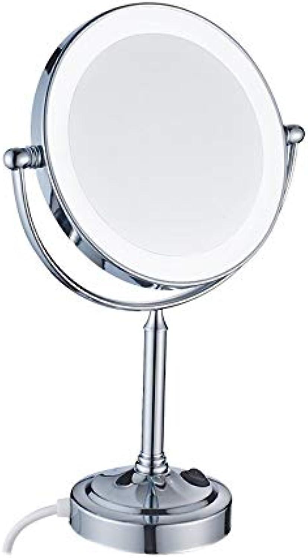 Leuchtspiegel, BadspiegelDesktop doppelseitiger LED-Schminkspiegel mit Licht, 8-Zoll-Kupferspiegel