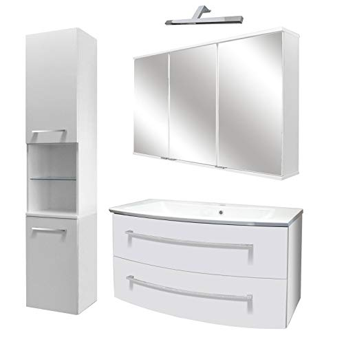 FACKELMANN licht badkamermeubel set 5-dlg. Rondo met wastafel onderkast hangend gootsteen 100 cm & LED spiegelkast