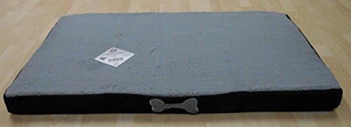 MB Warenhandel24 Premium Hundekissen Hundebett Hundesofa Hundekorb Haustierkissen Haustierliegekissen Hundematratze grau Memory orthopädisch und rutschfest mit kuscheligem Teddy Plüsch (S - Memory)