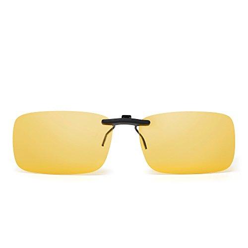 JM Sin marco Rectángulo Clip en Gafas de Sol Ligero Peso Polarizadas Anteojos Hombre Mujer(Amarillo Polarizado)