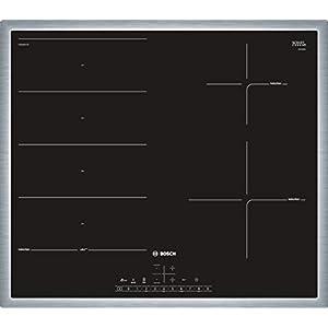Bosch Serie 6 PXE645FC1E hobs Integrado Con – Placa (Integrado, Con placa de inducción, Vidrio y cerámica, Negro, 1400 W, Alrededor)