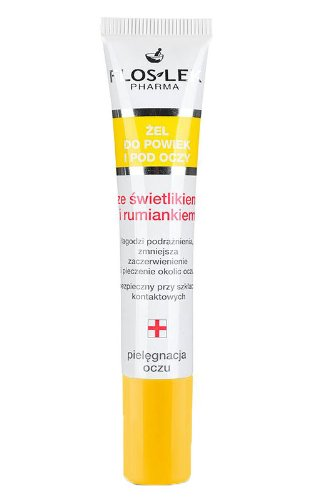 EYEBRIGHT Lid & under eye gel with eyebright and camomile 15ml TUBA, FLOS-LEK, anti-puffiness effect, reduces redness