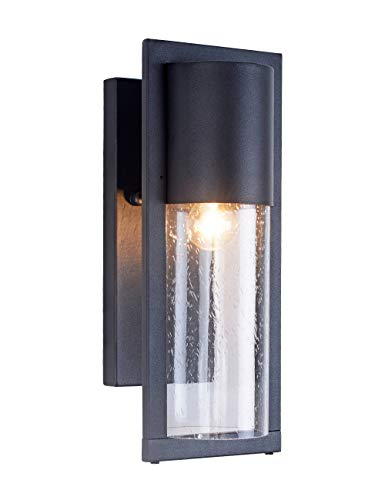 Modern Farmhouse Outdoor Wall Light, Waterproof Rust-Proof Porch Light Exterior Wall Lantern Black Finish with Seed Glass for House Porch Patio Deck 14.2