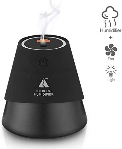 3-in-1 Mini luchtbevochtiger Slaapkamer 230ml USB Fan Light Air Diffuser met 7-kleuren LED verlichting Portable luchtbevochtiger for Baby ruimte kantoor dljyy (Color : Black)