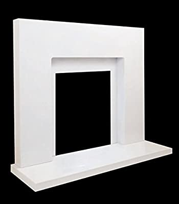 White Marble Stone Curved Modern Wall Surround Gas Fireplace Suite - 18mm Rebate