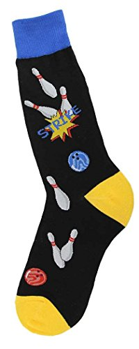 Foot Traffic, Men's Sports-Themed Socks, Strike Bowling (Men's Shoe Sizes 7-12)