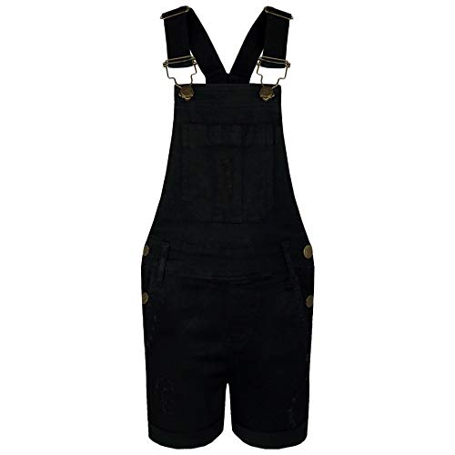 A2Z 4 Kids® Kids Meisjes Dungaree Shorts Ontwerper Zwarte Denim Ripped Stretch Jeans Overall All in One Jumpsuit Playsuit Leeftijd 5 6 7 8 9 10 11 12 13 Jaar