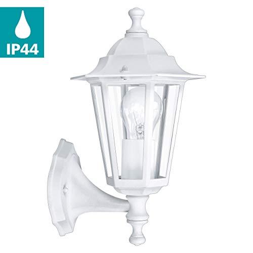 EGLO Außen-Wandlampe Laterna 5, 1 flammige Außenleuchte, Wandleuchte aus Aluguss und Glas, Farbe: Weiß, Fassung: E27, IP44