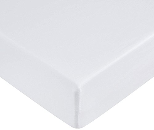 Amazon Basics - Lenzuolo con angoli in microfibra, 160 x 200 x 30 cm, Bianco brillante