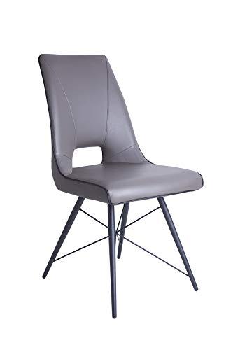 Meubletmoi Chaise Design Moderne Simili Taupe - piétement Design Acier Noir - Elégante et Confortable - Vogue
