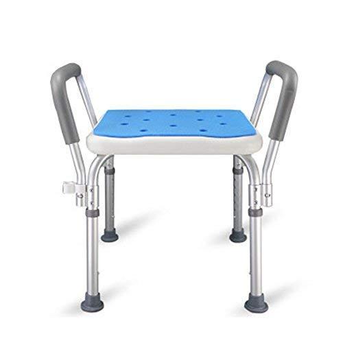 WXDP Autopropulsado Silla de baño Portátil Aluminio Cuadrado Azul Ensamblaje Taburete de baño Ajustable para Embarazadas Silla de baño Vieja, A