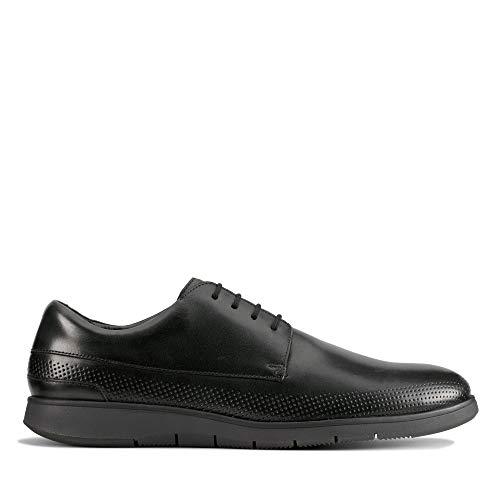 Clarks Herren Helston Walk 261487807 Derbys, Schwarz (Black Leather Black Leather), 42.5 EU