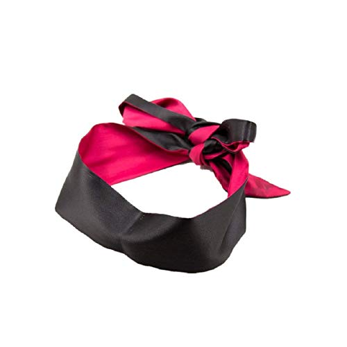 Qyclc Schlafmaske, Satin-Augenmaske, Rot / Schwarz, 150 cm