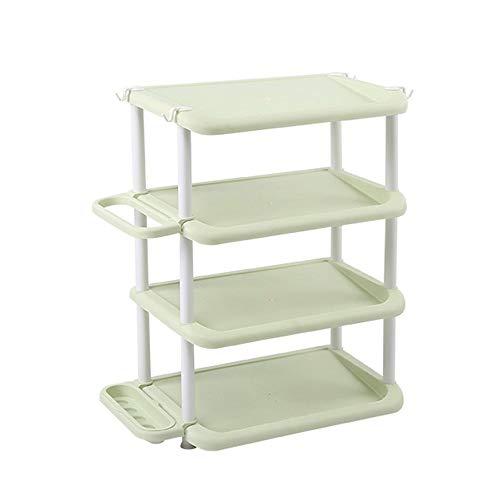 ZAIHW Zapatero Organizador de pie de plástico de 4 Niveles para baño/Dormitorio y Almacenamiento a Prueba de Agua No se requieren Herramientas, apilable y liviano - 47.5 * 31.5 * 66CM (Color: Ve
