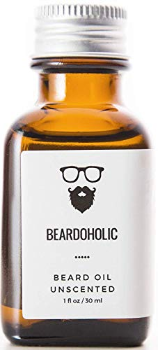 BEARDOHOLIC Premium Quality Beard Oil and Leave-in Conditioner, Softener - 100% Pure Organic Natural, Unscented - Beard Growth and Stops Itchiness - Jojoba and Argan Oil