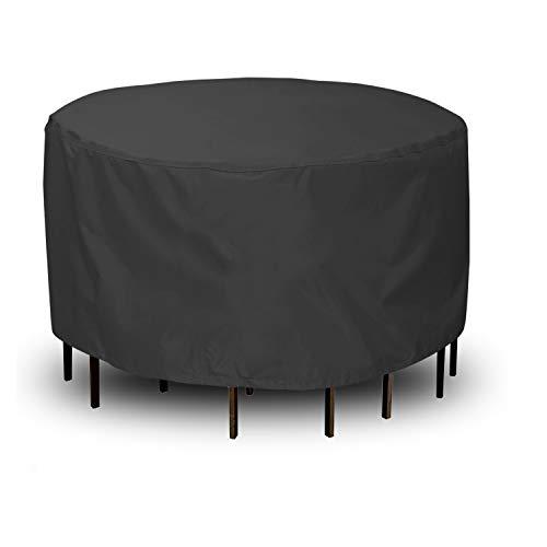 Rund Gartenmöbel Abdeckung,CHUSSTANG Wasserdichtes Gartentisch Abdeckung für Gartenmöbel Sitzgruppe, Atmungsaktives Schutzhülle Gartenmöbel für Sitzgarnituren, Gartentische und Möbelsets - (Ø180x90cm)