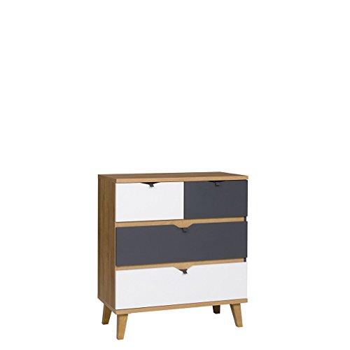 Mirjan24 Kommode Memone TM05 mit 4 Schubladen Sideboard Schubladenkommode für Jugendzimmer Highboard Kleiderschrank Schrank (Eiche Gold/Graphit)
