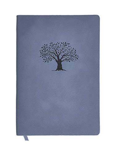 N&K A5 Notizbuch Bullet Journal dotted in Wildlederoptik Cover 160 Seiten festes Papier Notebook Premium Design und TOP Qualität Planer Organizer Terminplaner Taschenbuch Hausaufgabenheft - Blau