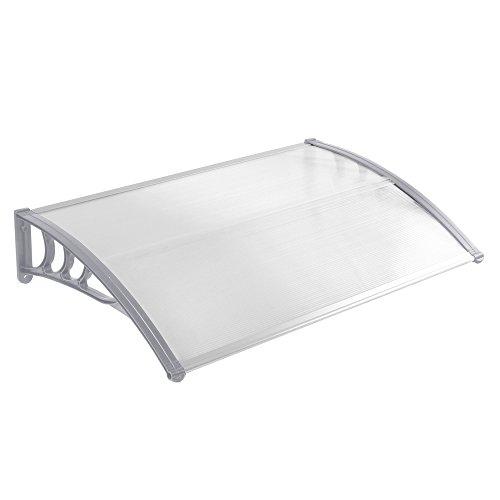 MCTECH® 120 x 90 cm Vordach Pultvordach, Grau Polypropylen Seitenstreben und Transparent 5mm dicke Polycarbonat, Überdachung Haustürvordach (120 x 90 cm, Grau)