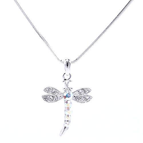 ARITZI – Collar de bisutería con baño de rodio con colgante de cristal - Cadena de cola de ratón de 40 cm - LIBELULA