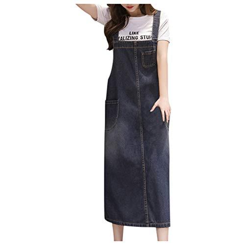 Auifor Damesloze, denim-rock-tuinbroek, dressSolid, kleur los, casual, wilde strijkjurk, totale jeans, lang