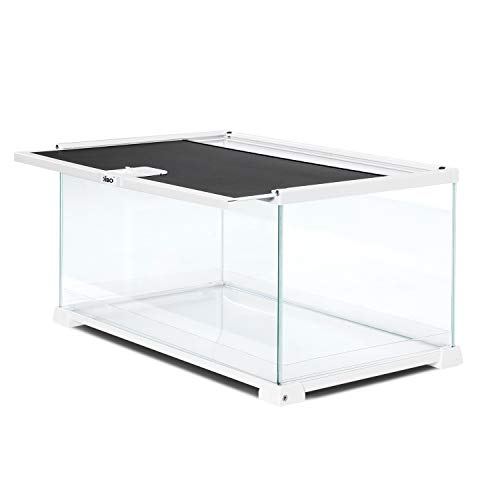 "OIIBO 10 Gallon Reptile Tank Glass Cages Terrarium 20"" x 12"" x 10"" Sliding Screen Top for Reptile Hamster Hedgehog Small Animals"