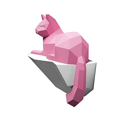 WGXY DIY Paper Trophy 3D Origami Animal Decoration DIY Handmade Cat Carving 3D Three-Dimensional Paper Crafts Cat Sculpture Animal Building