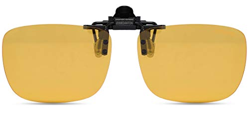 JESSIEDANTON HD Night Vision Polarized Clip-on Flip Up Metal Clip Rimless Sunglasses, Lightweight, XL Size, Yellow Lens