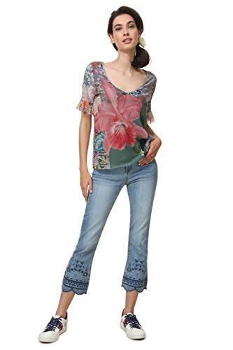 Desigual Damen Short Sleeve Laura Woman Grey T-Shirt, Grau (Gris Perla 2005), Large