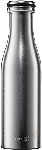 Lurch 240229 Isolierflasche/Thermoflasche für heiße und kalte Getränke aus doppelwandigem, gesandstrahltem Edelstahl 0,5l