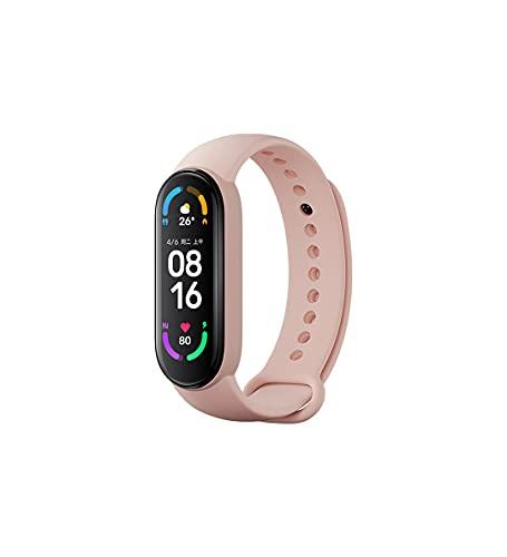 Für Xiaomi Mi Band 6 CN Standard-Version Spo2 Fitness-Tracker schwarz mit zusätzlichen Original-Armbändern (schwarz plus original pinkes Armband).