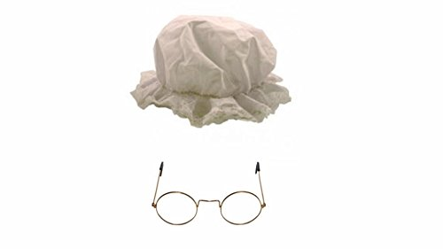Best Dressed Erwachsene Kinder Oma Oma World Book Day Charakter Haube & Gold runde Brille Set