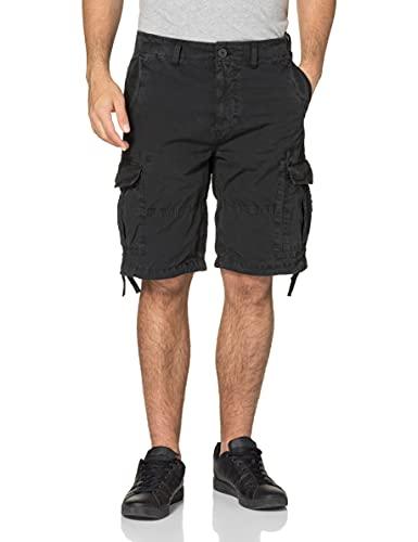 Superdry Mens Parachute Cargo Shorts, Washed Black, 34