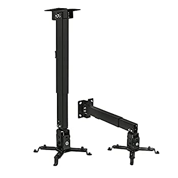 Mount-It! Wall or Ceiling Projector Mount with Universal LCD/DLP Mounting for Epson Optoma Benq ViewSonic Projectors 44lb Load Capacity Black