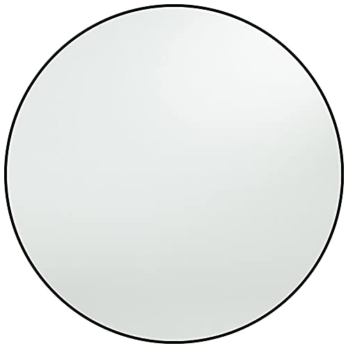 Harmati Round Mirror Circle Black - Circular Mirror 20 Inch Metal Framed Wall Mounted, Hanging Round Wall Mirror Modern Decorative for Bathroom, Living Room, Bedroom, Entryway