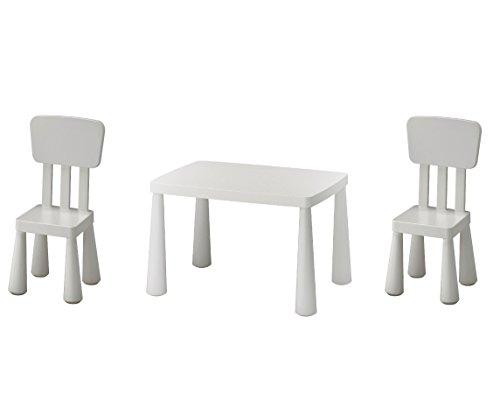 B2C Mobili serie Mammut di Ikea, tavolino per bambini con 2 sedie, colore: bianco